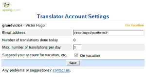 Sylang translator account settings page / page de configuration du compte traducteur Sylang